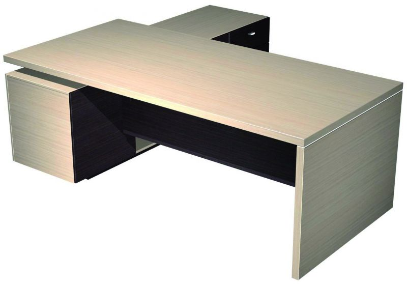 Стол руководителя с лотком, экраном и опорной тумбой правой (210х200х77)
